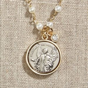 Jewelry - Guardian Angel Necklace on Pearl Chain